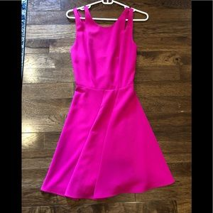 HOT PINK NORDSTROM lightly pleated party dress